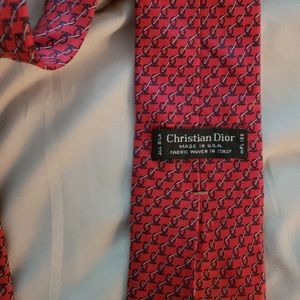 100% silk Christian Dior tie- red and navy